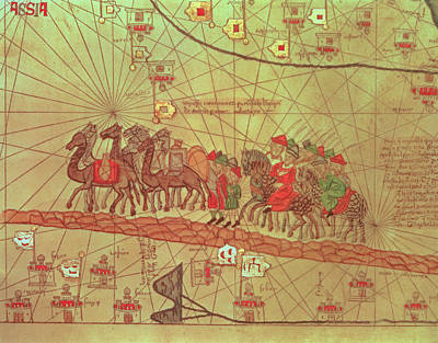 Camel Drawing - Catalan Atlas, Detail Showing The Family Of Marco Polo 1254-1324 Travelling By Camel Caravan, 1375 by Spanish School