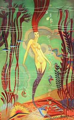 Abalone Painting - Catalina Island Mermaid  by Ricardo Alvarez