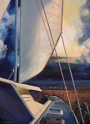 Catamaran Sunset Original by Terry Cox Joseph