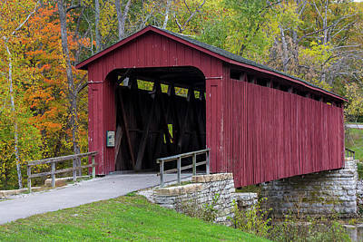 Cataract Covered Bridge Over Mill Creek Print by Chuck Haney