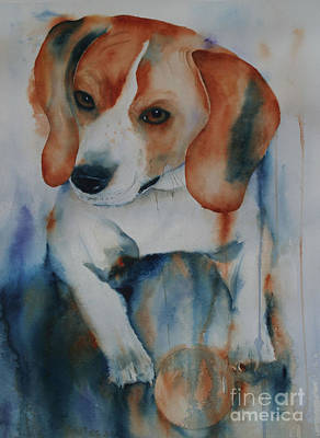 Dog Playing Ball Painting - Catch It If You Can by Barbara Ford