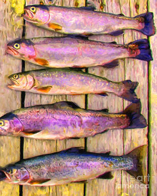 Rainbow Trout Digital Art - Catch Of The Day - Painterly - V1 by Wingsdomain Art and Photography