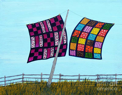 Homemade Quilts Painting - Catching The Breeze by Barbara Griffin
