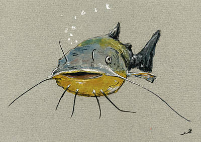 Catfish Painting - Catfish by Juan  Bosco