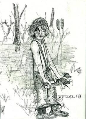 Catfish Drawing - Catfishing Bayou Style by Joseph Wetzel
