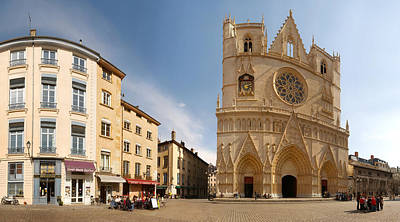 Rhone Alpes Photograph - Cathedral In A City, St. Jean by Panoramic Images
