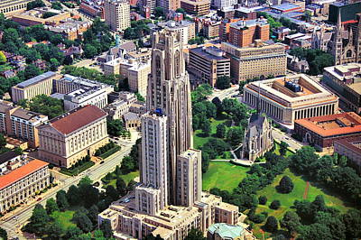 Cathedral Of Learning Aerial Print by Mattucci Photography