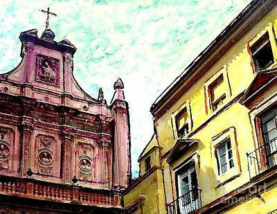 Cathedral Plaza In Murcia Print by Sarah Loft