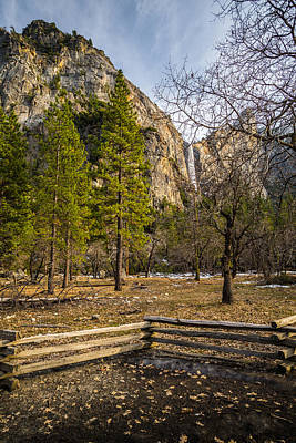 Cathedral Rock And Bridalveil Falls Print by Mike Lee