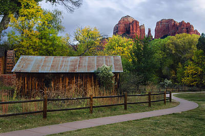 Cathedral Rock Buildings Near Sedona Print by Dave Dilli