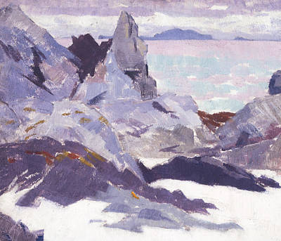 Cloudy Day Painting - Cathedral Rock  Iona by Francis Campbell Boileau Cadell