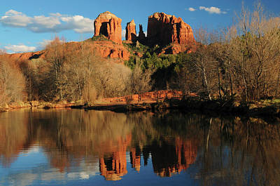 Cathedral Rock Reflections At Sunset Print by Michel Hersen
