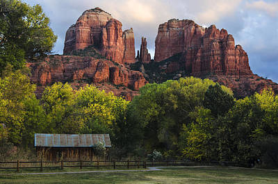 Cathedral Rock With Fall Colors And Rustic Building Print by Dave Dilli