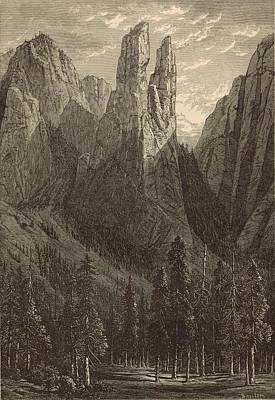 Yosemite National Park Drawing - Cathedral Spires 1873 Engraving by Antique Engravings