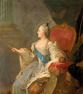 Catherine The Great, 1763 Oil On Canvas Print by Fedor Stepanovich Rokotov
