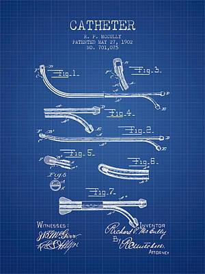 Catheter Patent From 1902 - Blueprint Print by Aged Pixel
