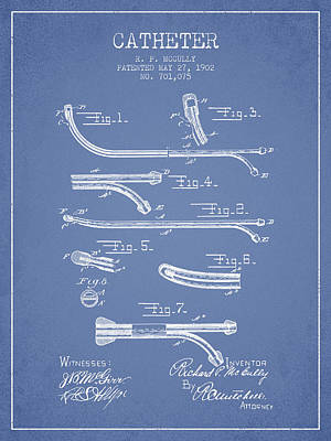 Catheter Patent From 1902 - Light Blue Print by Aged Pixel