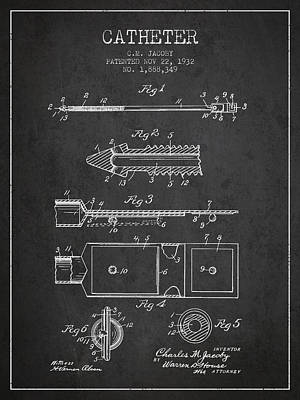 Catheter Patent From 1932 - Charcoal Print by Aged Pixel