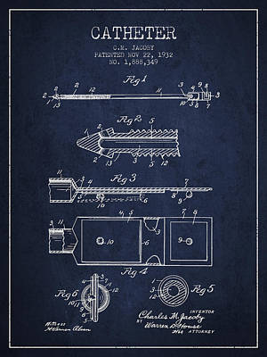 Catheter Patent From 1932 - Navy Blue Print by Aged Pixel