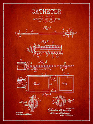 Catheter Patent From 1932 - Red Print by Aged Pixel