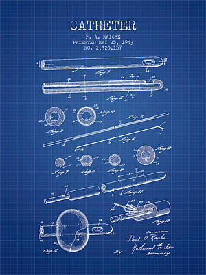 Catheter Patent From 1943 - Blueprint Print by Aged Pixel