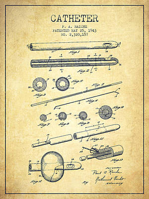 Catheter Patent From 1943 - Vintage Print by Aged Pixel