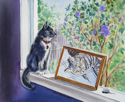 Mice Painting - Cats And Mice Sweet Memories by Irina Sztukowski