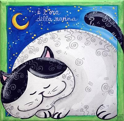 Stars Painting - Cat's Bedtime by Loris Bagnara