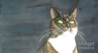 Domestic Short Hair Cat Painting - Cats Eyes by Lesley McVicar