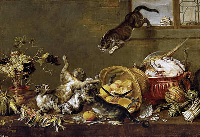 Cats Fighting In A Larder Print by Paul de Vos