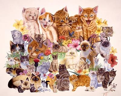 Cat Images Painting - Cats by John YATO