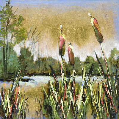 Mo Artist Painting - Cattails At Forest Park by Vic  Mastis