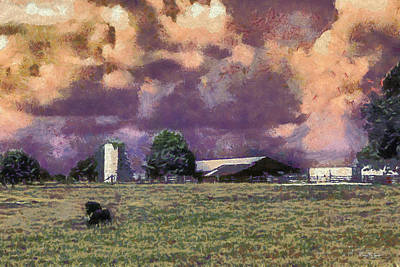 Cattle Country Sunset Print by Barry Jones