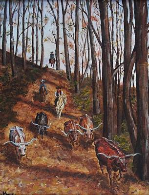 Steer Painting - Cattle Drive by Joan Mace