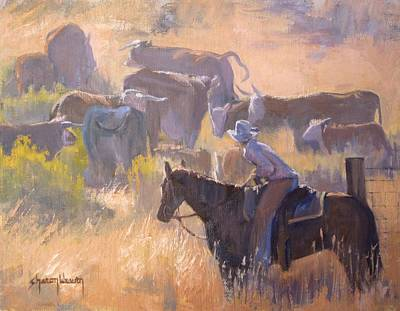 Cattle Drive Painting - Cattle Drive by Sharon Weaver