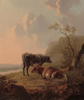 Cow Painting - Cattle In An Italianate Landscape by Jacob van Strij
