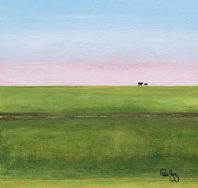 Mississippi River Painting - Cattle On The Levee by Paul Gaj