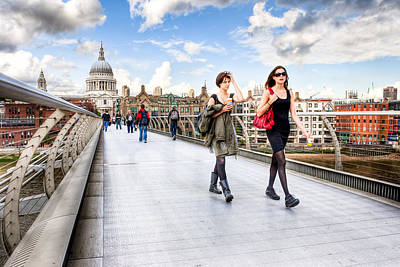 Cathedral Photograph - Caught In A Moment On London Millennium Bridge by Mark E Tisdale