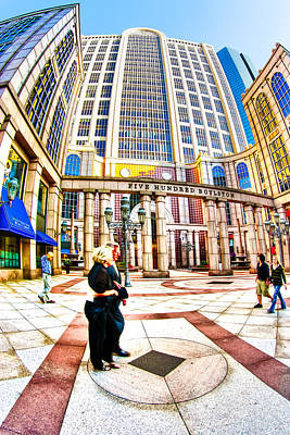Caught In The Geometry Of Boylston Street Print by Mark E Tisdale