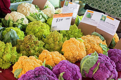 Brassica Oleracea Photograph - Cauliflower Market Stall by Jim West