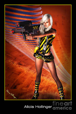 Comics Mixed Media - Caution Sci-fi Blonde With A Gun by Alicia Hollinger