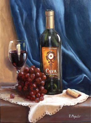 Hand Painted Wine Glass Painting - Cava Wine by Viktoria K Majestic