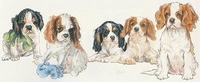 Cavalier King Charles Spaniel Puppies Print by Barbara Keith