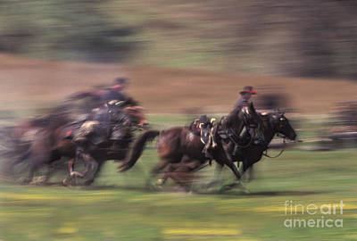 Historical Re-enactments Photograph - Cavalry Battle At A Civil War by Ron Sanford