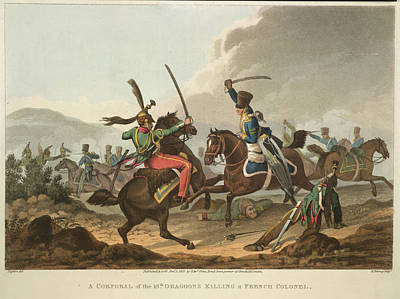 Cavalry Fighting Print by British Library