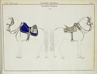 Cavalry Saddles And Bridles Print by British Library