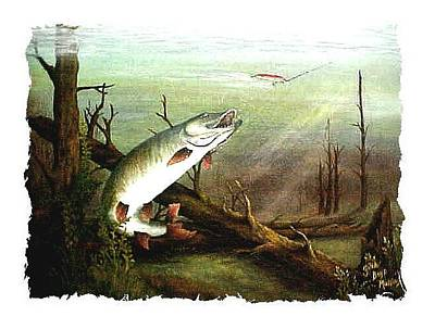 Musky Painting - Cave Run Musky  by Gina Boyd Mullins