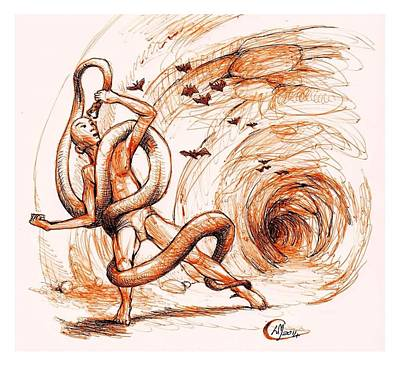 Burmese Python Drawing - Cave Wrestle by Libo Mahlati