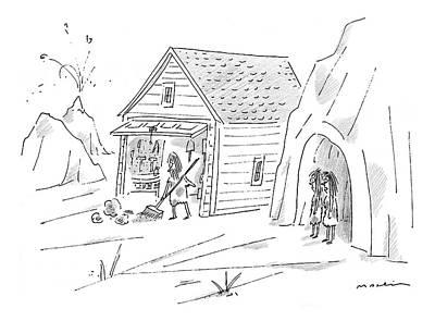 Caveman Sweeping Up His Garage Print by Michael Maslin