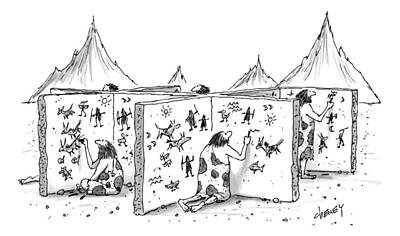 Cubicle Drawing - Cavemen Are Seen Carving Into Walls In The Form by Tom Cheney